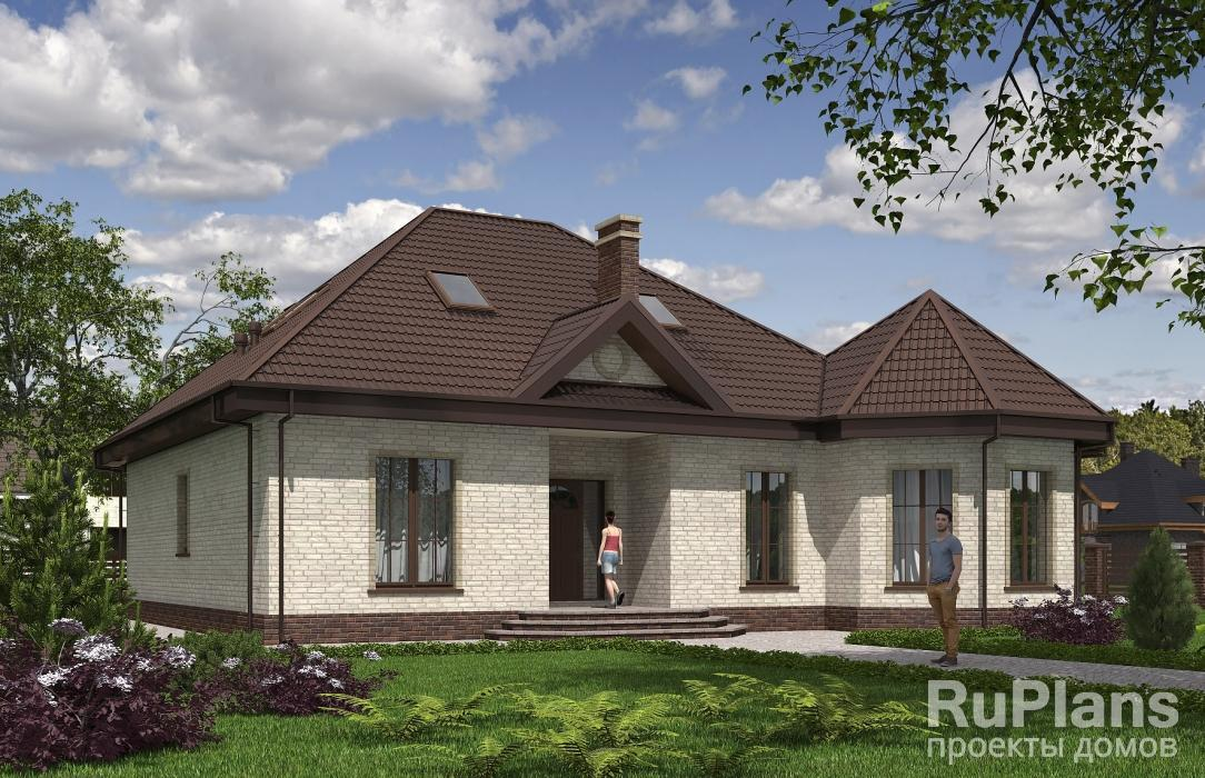 Проект одноэтажного жилого дома с террасой и зимним садом Rg5164