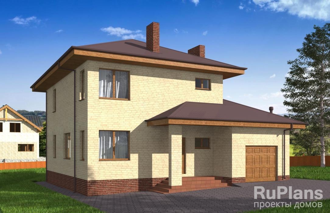 Двухэтажный дом с гаражом, подвалом и балконом rg5192.