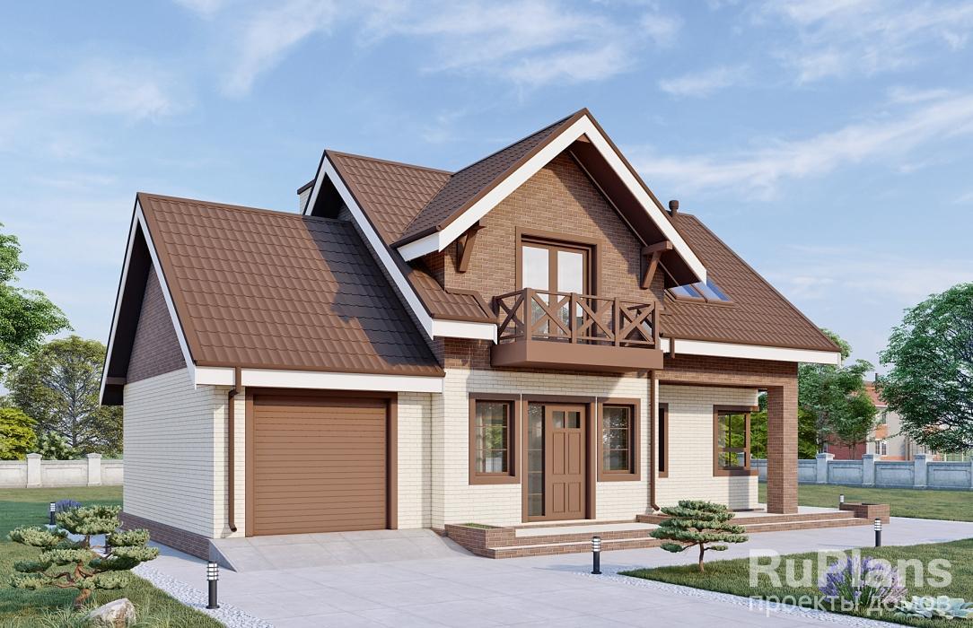 Одноэтажный дом с мансардой, гаражом, террасой и балконом rg.
