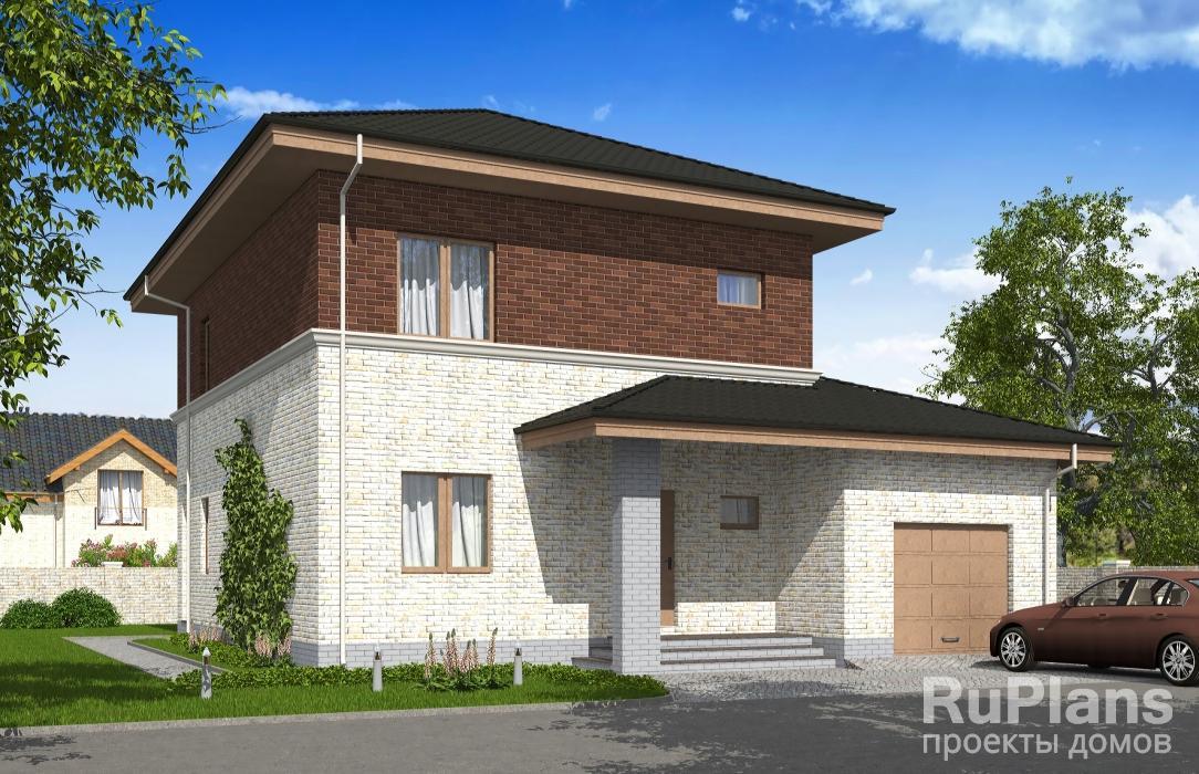 заказать Двухэтажный дом с гаражом и балконом Rg5276