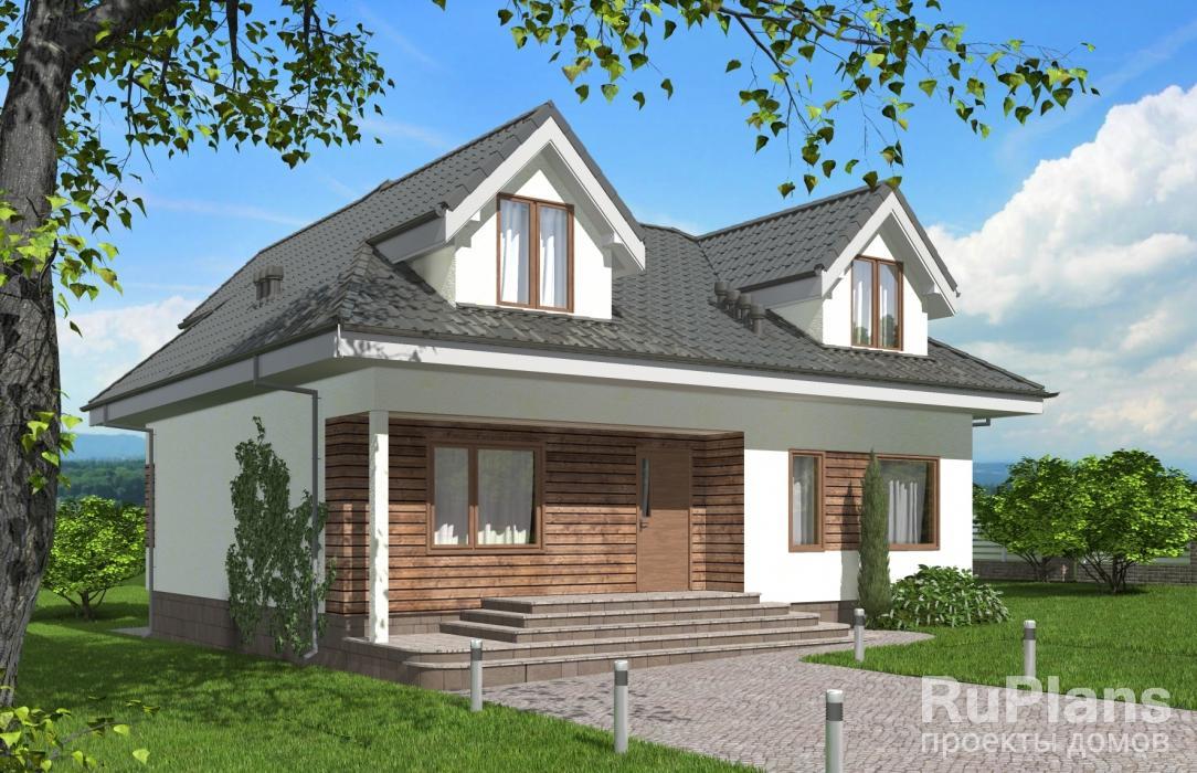 заказать Одноэтажный дом с мансардой и террасой Rg5294