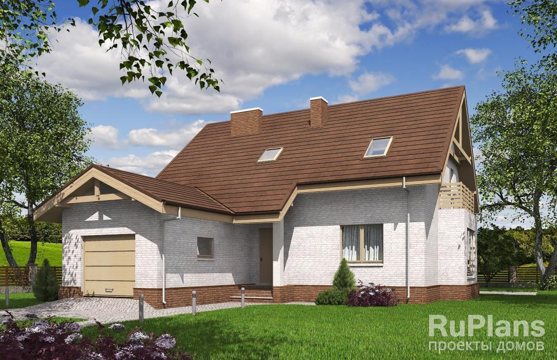 заказать Одноэтажный дом с мансардой, гаражом и террасой Rg5298