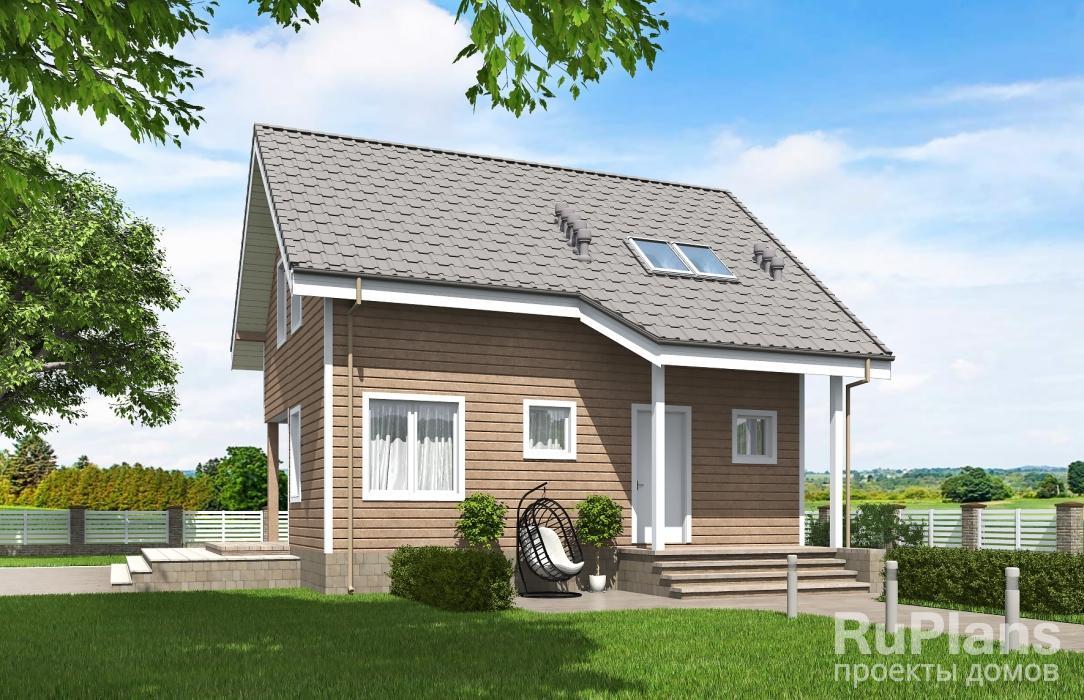 заказать Одноэтажный дом с мансардой и террасой Rg5326