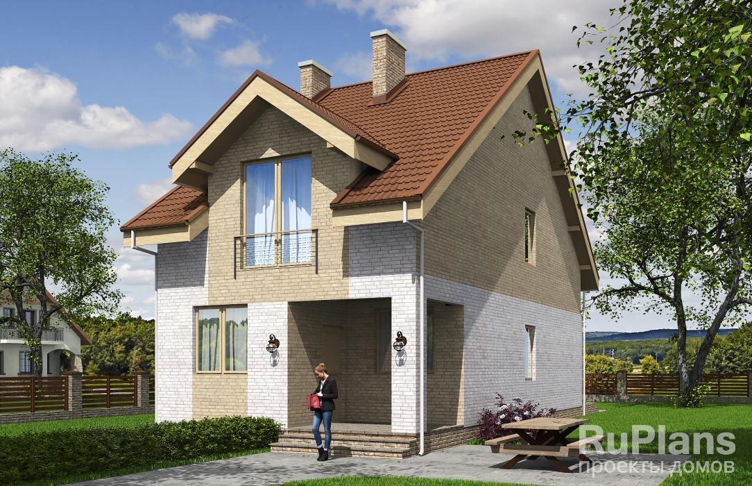 заказать Одноэтажный дом с мансардой, террасой и лоджией Rg5330