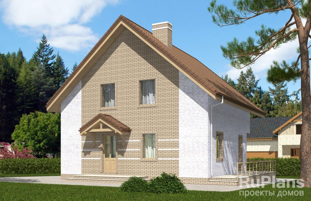 заказать Одноэтажный дом с мансардой, террасой и балконом Rg5358