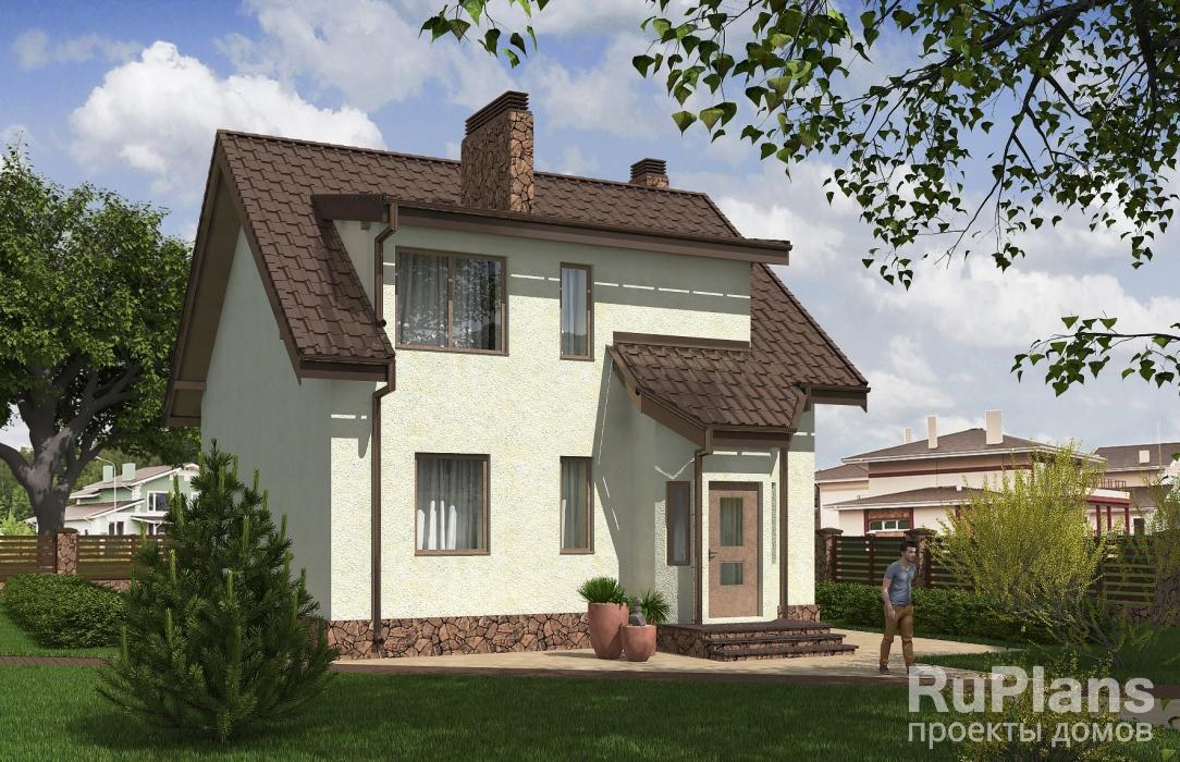 заказать Проект одноэтажного дома с террасой и мансардой Rg5360