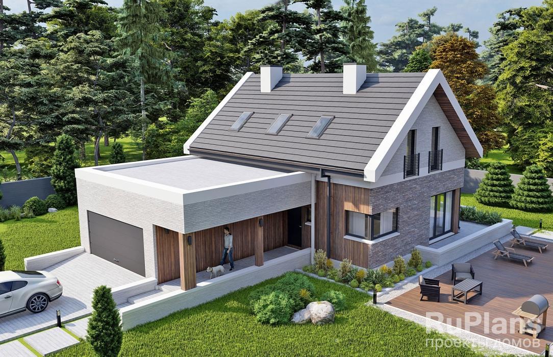 заказать Проект одноэтажного жилого дома с террасой и мансардой Rg5382