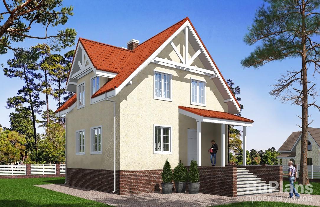 заказать Одноэтажный дом с подвалом и мансардой Rg5388