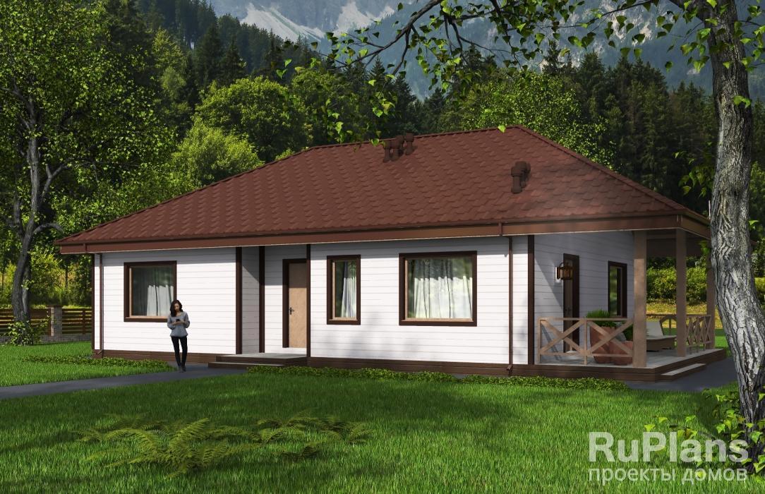 заказать Одноэтажный жилой дом с террасой Rg5396