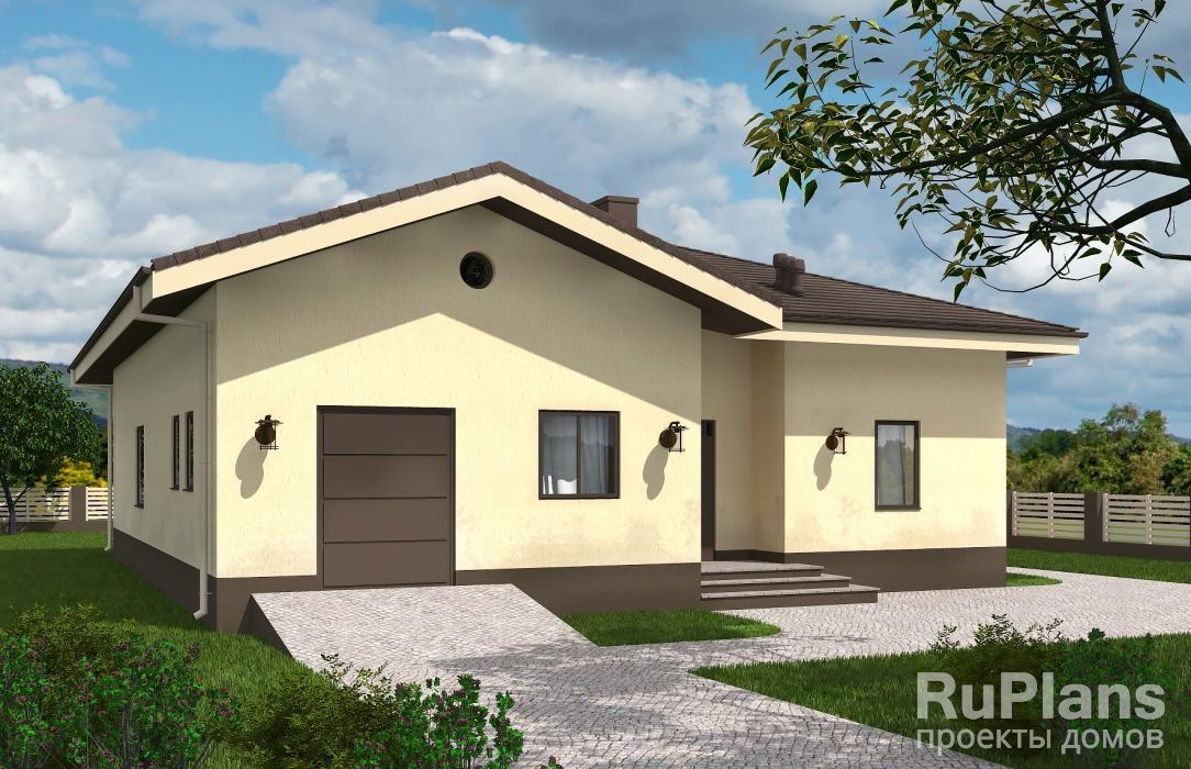 Проект одноэтажного дома с террасой Rg5787