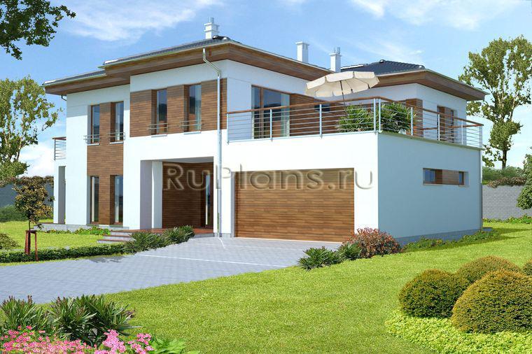 Проект двухэтажного дома с гаражом r111