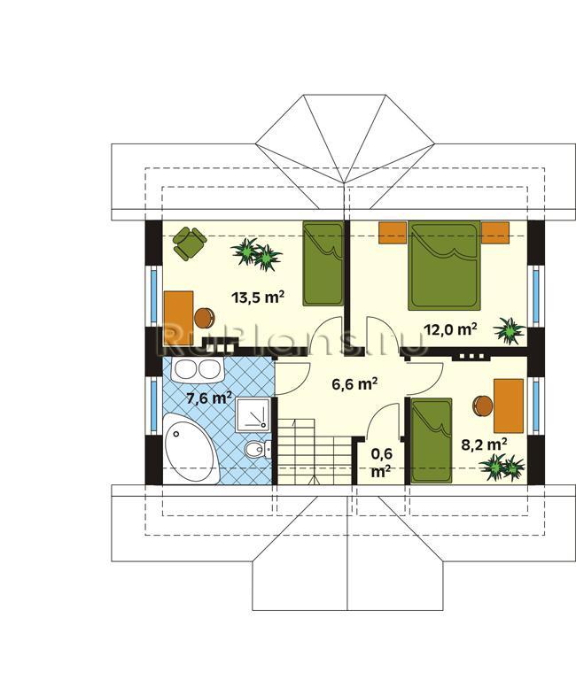 Проект одноэтажного дома с мансардой