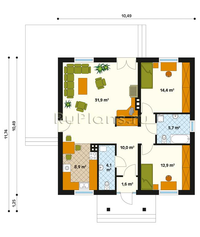 Проект одноэтажного дома план 1