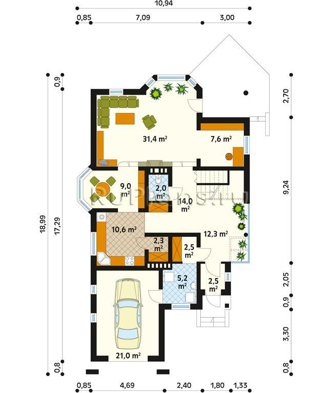 окна интерьере: план дома на узком участке с гаражом фото сколько