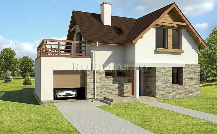 Проект дома с гаражом узкий.