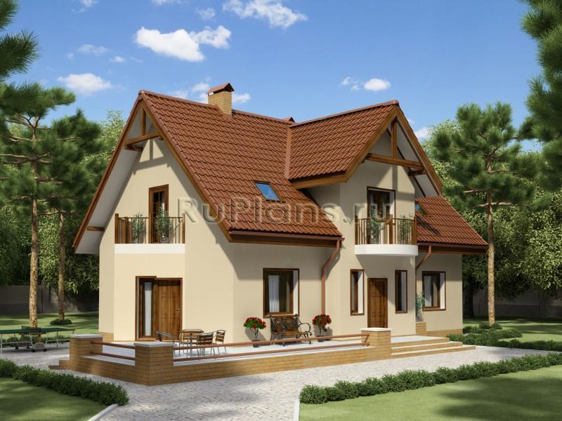 Проект дома с мансардой и террасой R1372 ...: https://ruplans.ru/proekti/proekti_1372.html