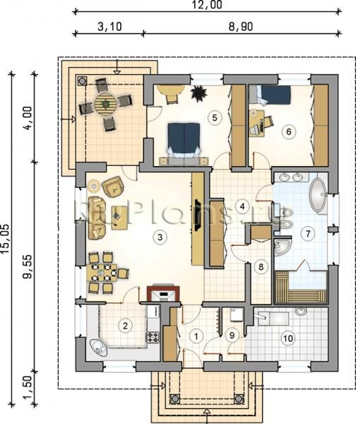 Проект одноэтажного дома с совмещеным