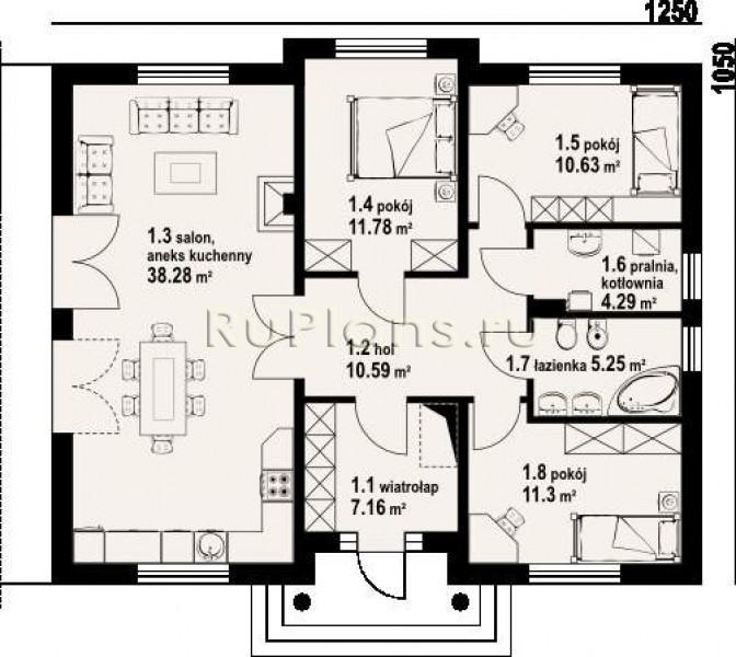 Фото одноэтажных домов а так же план и схема