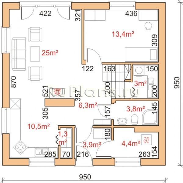 Планировка дома 7 на 8 одноэтажный