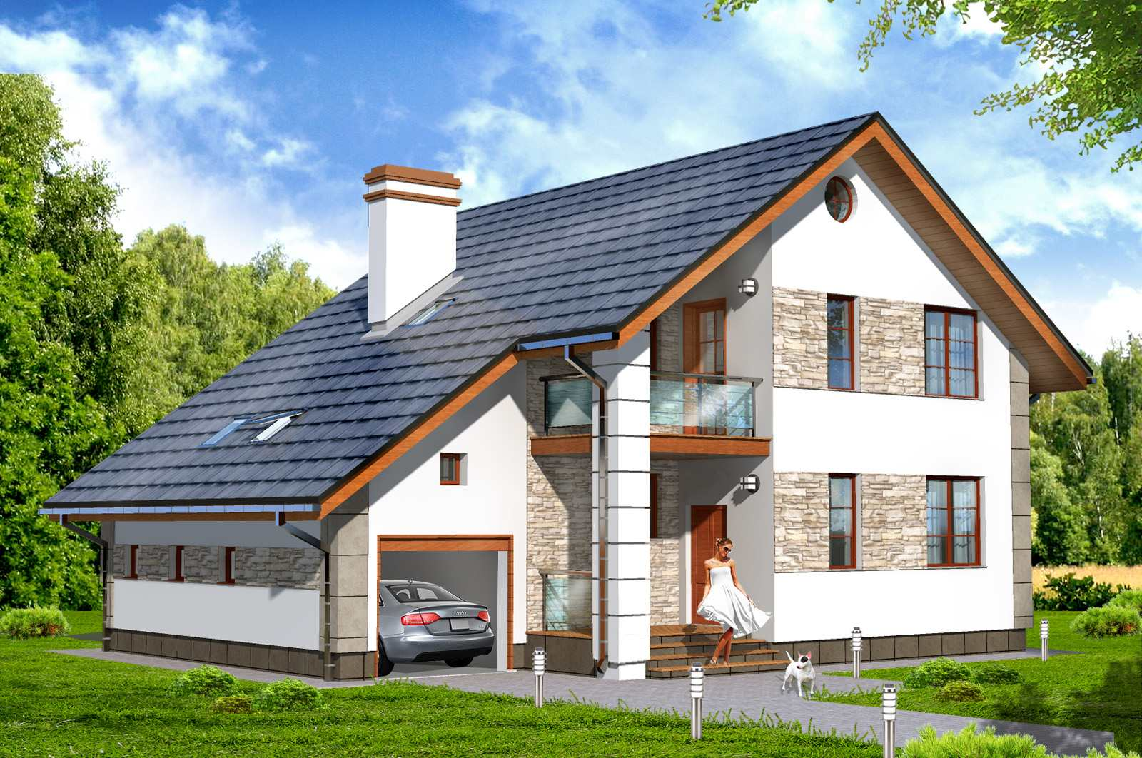 Дома с гаражом: гараж внутри дома